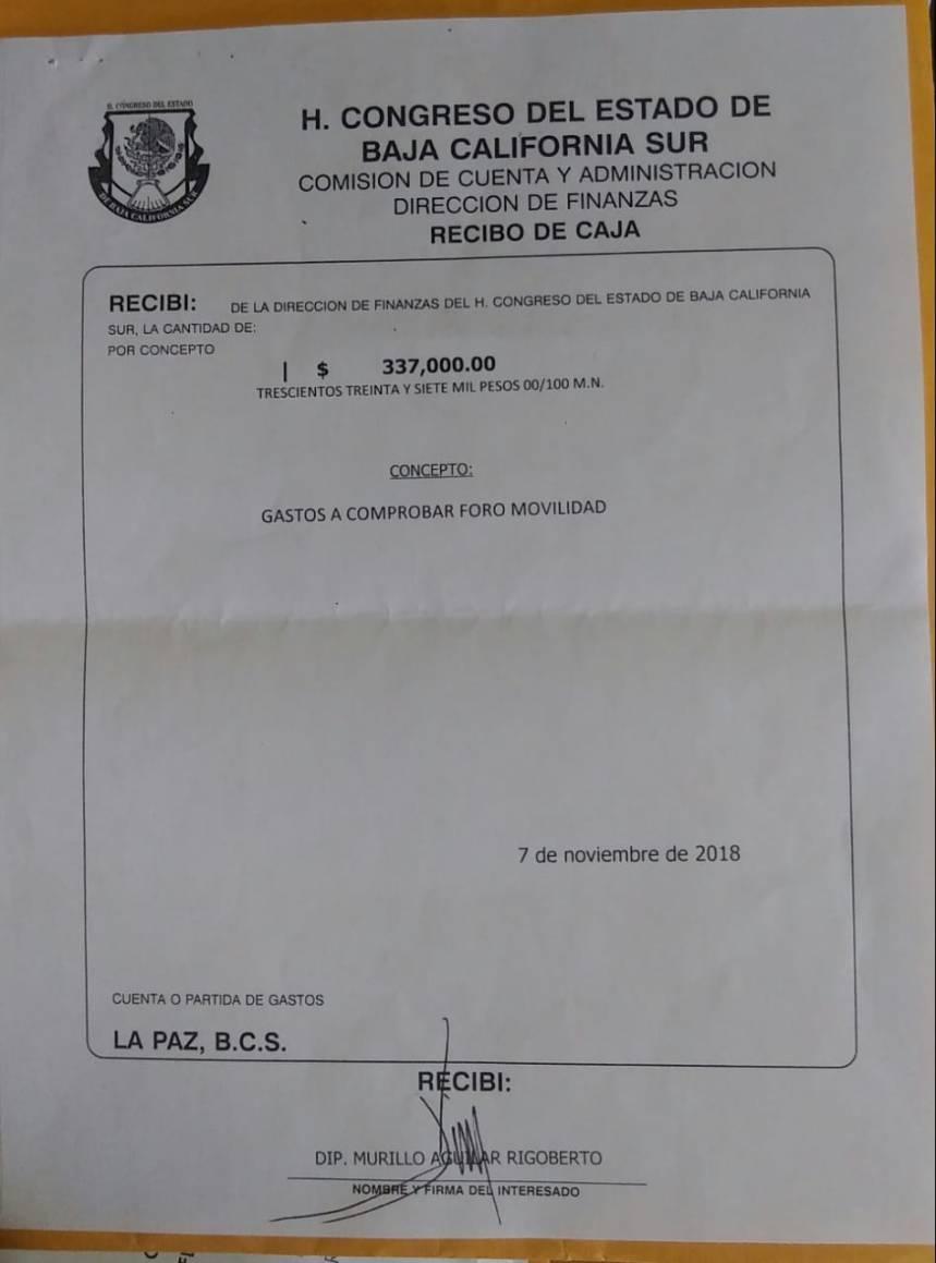 Documento de firma de recibido de los 337 mil pesos